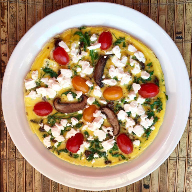 Keto Recipe | Arugula, Portobello, & Feta Frittata