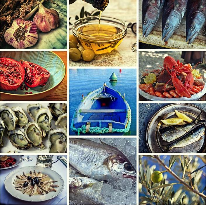 Mediterranean seafood golden pyramid